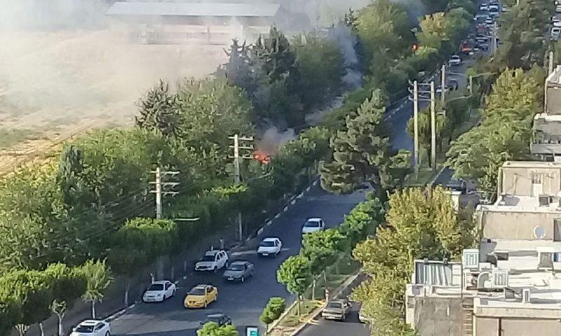 آتش سوزی در زمین هایدامپروری واقع در سه راه گوهردشت