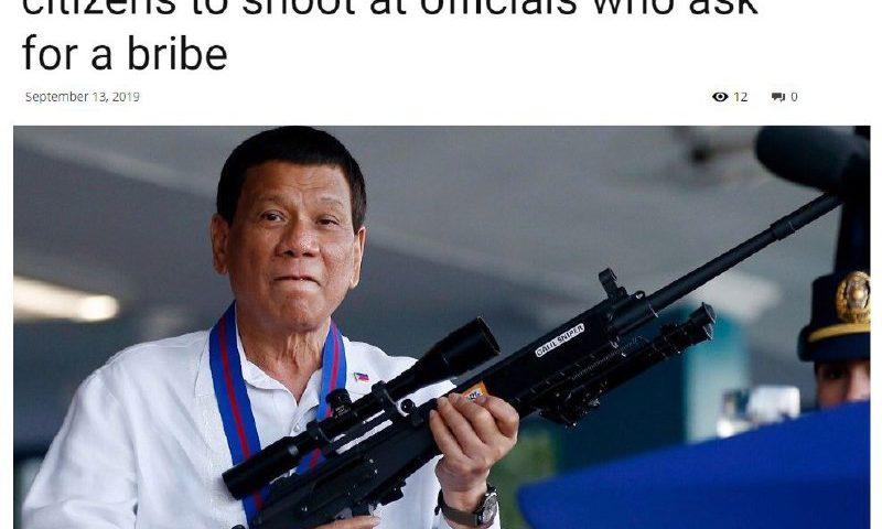 رئیسجمهور فیلیپین : به مسئولان فاسد شلیک کنید