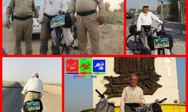 تصاویری از ورود دوچرخه سوار ماهدشتی به عراق