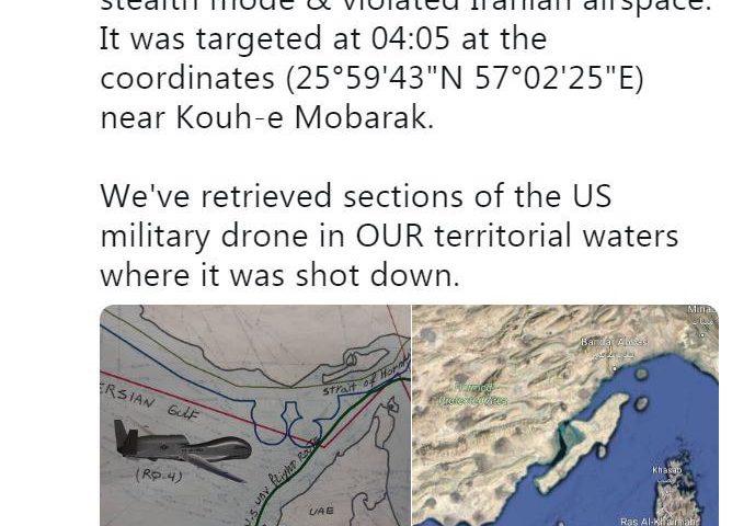 ظریف: بخشهایی از پهپاد نظامی آمریکایی را از داخل آبهای سرزمینی خود بازیابی کردیم