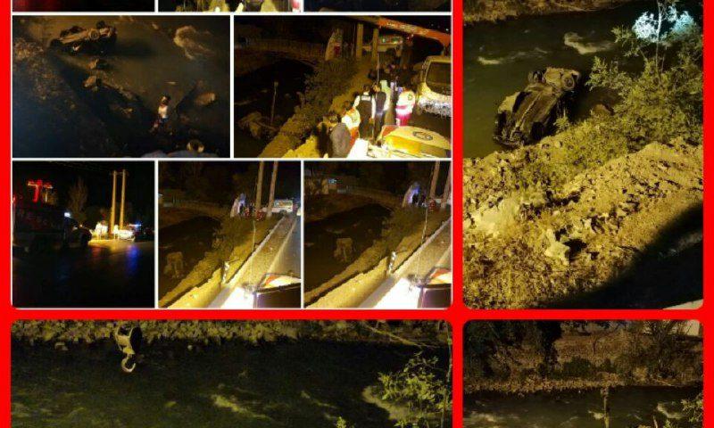 سقوط خودرو پراید به داخل رودخانه کرج
