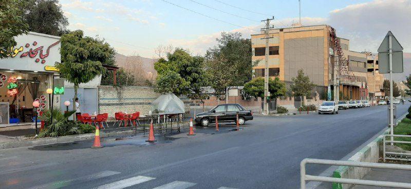 پیام شهروندی  اشغال حریم عمومی توسط یک کبابی